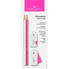 Sparkle Set blyant + viskelær + blyantkvesser, Hvit/Rosa