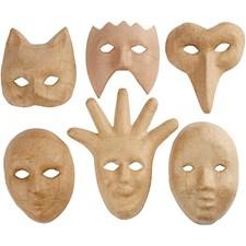 Masker av Papier-Maché 12-21 cm 6 st