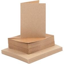 Kort og konvolutter, kort str. 10,5x15 cm, konvolutt str. 11,5x16,5 cm, 50 sett, natur