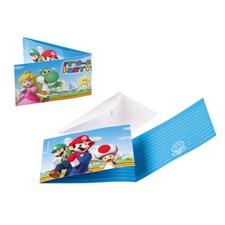 Super Mario inbjudningskort, 8 st