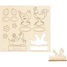 Sätt-ihop-själv figurer, höns och blommor, L: 15,5 cm, B: 17 cm, plywood, 1förp., tjocklek 3 mm
