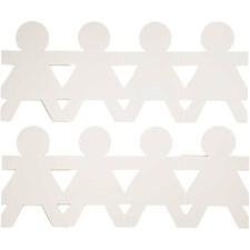 Jenter på rad, H: 12 cm, L: 45 cm, hvit, 16stk., 230 g