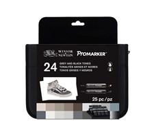 """Promarker Set med 24 st Markers """"Black & Greys"""" i en Praktisk Väska"""