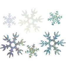 Paljetit, halk. 25+45 mm, vaaleansininen, valkoinen, hopea, lumihiutale, 30g