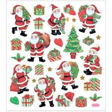 Stickers,  15x16,5 cm, ca. 29 st., klassiska julfigurer, 1ark