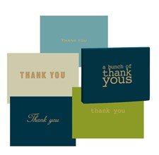 Roger la Borde Kortbox. 8 Kort med Guldpräglad Thank You Text. 2 Kort av Varje Motiv