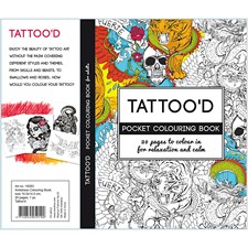Antistress malebok, str. 10,5x14,5 cm,  20 sider, Tattoo'd, 1stk.