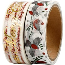 Maskin Tape, B: 15 mm, gledelig jul og fugl - folie, 2x4m