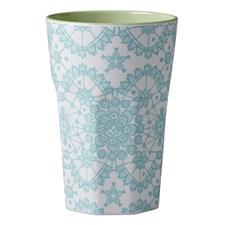 Rice Mugg Latte Melamin Mint Lace Print Pastel Green Inner