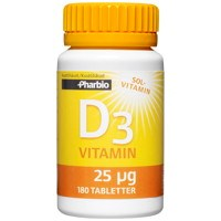 Pharbio D3-Vitamin, 180 tabletter