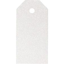 Pakettietiketit, koko 5x10 cm,  300 g, valkoinen, kimalle, 15kpl