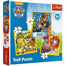 Marshall, Rubble and Chase, Paw Patroll, 3-i-1 Pussel, Trefl