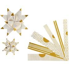 Stjärnstrimlor, B: 15+25 mm, dia. 6,5+11,5 cm, vit, guld, metallspetsar, 48strimlor, L: 44+78 cm