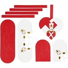 Flettede julehjerter, str. 12,5x11,5 cm,  120 , hvit, gull, rød, nøtteknekker, 8sett