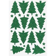 Glitterstickers,  12x18,5 cm, grön, julgran, 1ark