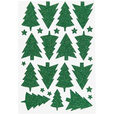 Glitterstickers, ark 12x18,5 cm, grønn, juletre, 1ark