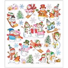 Stickers, ark 15x16,5 cm, ca. 24 stk., snømenn på ski, 1ark