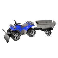 Firehjuling med tilhenger + plog, blå, Plasto