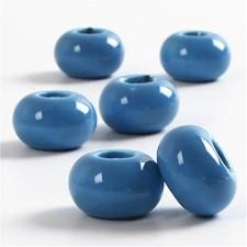 Keramikk Link, dia. 15 mm, H: 9 mm, 6 stk., blå