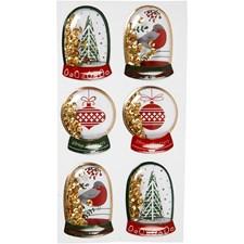 Shaker stickers, str. 49x32+45x36 mm, gull, fugl, tre og julekuler, 6stk.