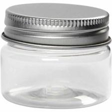 Plastboks med lokk, H: 35 mm, dia. 45 mm, 10 stk.