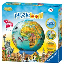 3D Pusselboll World map, 108 Bitar, Ravensburger