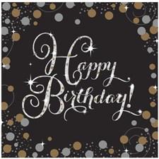 Happy Birthday Servetit 16 kpl Kultainen