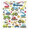 Stickers, ark 15x16,5 cm, ca. 36 stk., , byggeplass kjøretøyer, 1ark