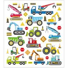 Stickers, ark 15x16,5 cm, ca. 36 stk., byggeplass kjøretøyer, 1ark