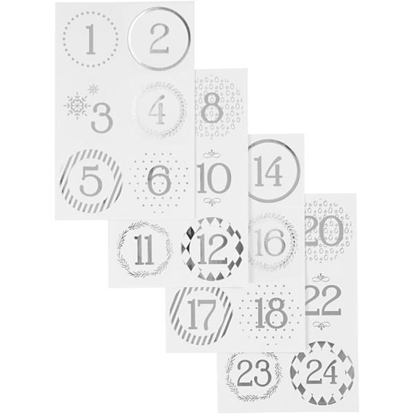 Kalendertall, dia. 40 mm, ark 9x14 cm, hvit, sølv, 4ark