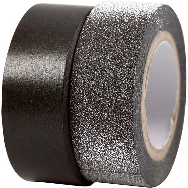 Designtape, B: 15 mm, 2 rl., svart