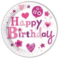 Happy Birthday Rosa, Papptallrikar, 8 st