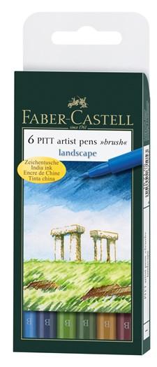 Faber-Castell Pitt Artist Pen Penselspiss Etui 6 Naturfarger