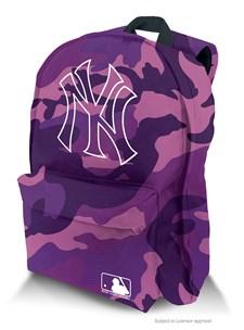 Lila camo ryggsäck med NY-motiv