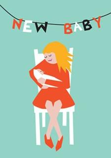 Gratulationskort Mamma med Baby