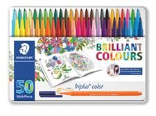 Triplus® color 50 kpl metallilaatikko Staedtler 1 mm kuituterällä Johanna Basford-aihe