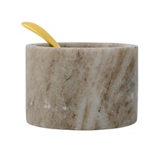 Saltkar m/gullskje, Ø 8 cm, Marmor, Bloomingville
