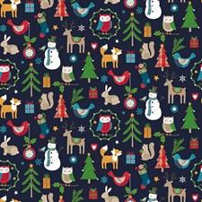 Stoff Jul Blå, Dyr, 50 x 160 cm