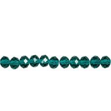 Fasettirondellit, koko 5x6 mm, aukon koko 1 mm, 100 kpl, smaragdinvihreä