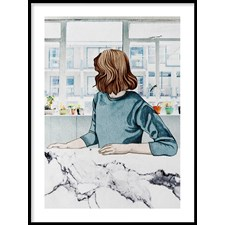 Kvinna vid fönster Poster30x40cm