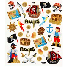 Stickers, ark 15x16,5 cm, pirater, 1ark