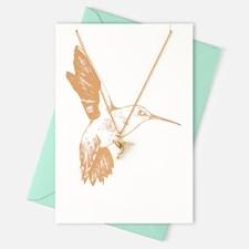 Gavekort med gullbelagt halskjede med kolibri anheng