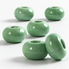 Keramikk Link, dia. 15 mm, H: 9 mm, 6 stk., grønn