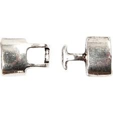 Kroklås, str. 30x15x7 mm, hullstr. 5x13 mm, antikk sølv, 2stk.