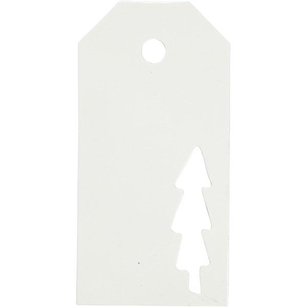 Pakettietiketit, koko 5x10 cm,  300 g, valkoinen, joulupuu, 15kpl