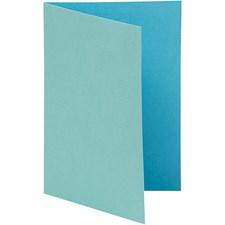 Brevkort, str. 10,5x15 cm, 250 g, 10 stk., mørk turkis/lys turkis