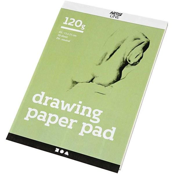 Piirustuslehtiö, A5 148x210 mm,  120 g, valkoinen, 30ark