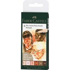 Pitt Artist Pen Portrait Penselspets Etui med 6 Pennor Faber-Castell