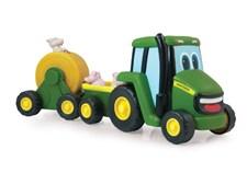 Traktor med tilhenger og dyr, John Deere