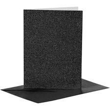 Kort och kuvert, kortstl. 10,5x15 cm, kuvertstl. 11,5x16,5 cm, svart, glitter, 4set